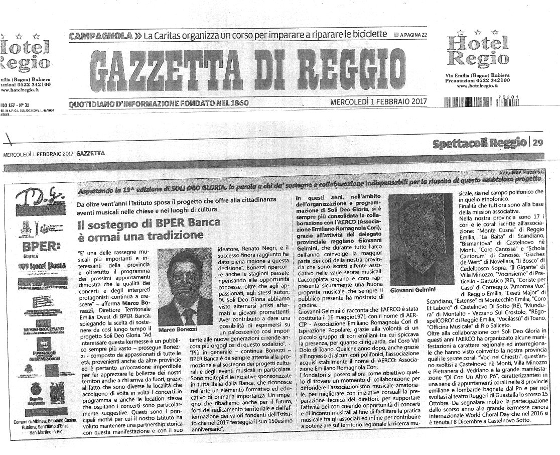 speciale Gazzetta 1 febbraio 2017 Soli Deo Gloria